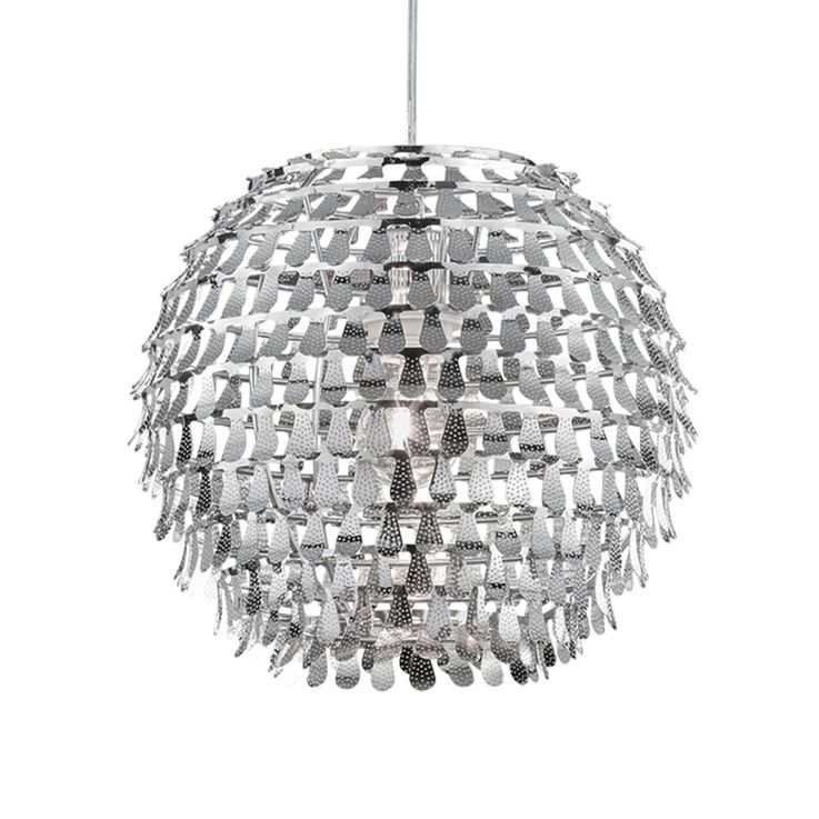 Chrome LED pendant light for the living room GLOBAL – Bild 4