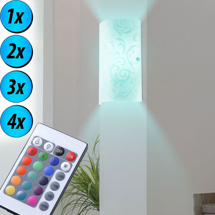 RGB LED wall lamp in printed glass for the hallway AMADORA – Bild 6