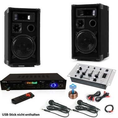 Karaoke Anlage Boxen USB SD MP3 Bluetooth Receiver Radio Fernbedienung Mixer 2x Mikrofon DJ-Smart 3 – Bild 1