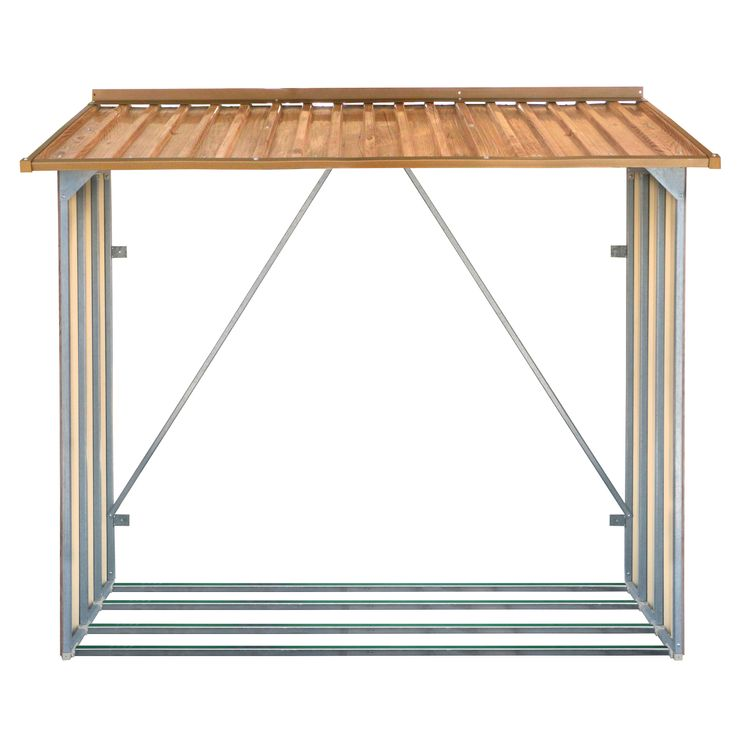 Fireplace Shelf Outdoor Garden Firewood Storage Storage steel sheet brown – Bild 2