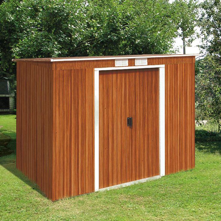 Metallgerätehaus Pent Roof 8x4 Holzoptik Geräte Haus Werkzeug Schuppen  – Bild 3