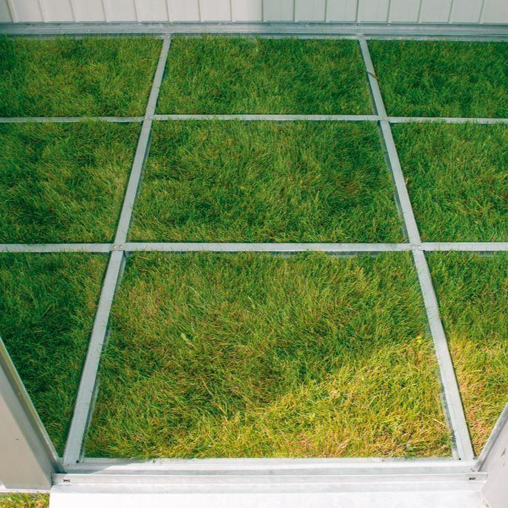 XL Metall Geräte Haus Schuppen Garten inkl. Unterkonstruktion Tür silber – Bild 2