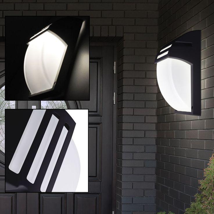 Design Wand Lampe Fassaden Strahler ALU Leuchte schwarz Terrassen Balkon Beleuchtung V-TAC 7076 – Bild 2