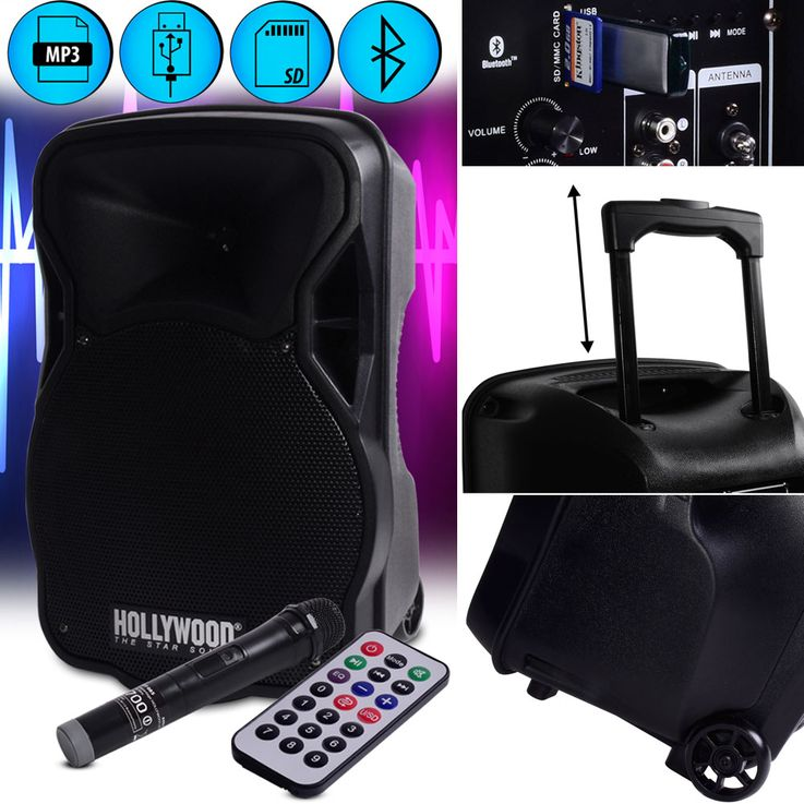Musik Stereo Anlage 700 Watt Bluetooth Boom Box Trolley SD MP3 USB Mikrofon Hollywood MB-15 – Bild 2