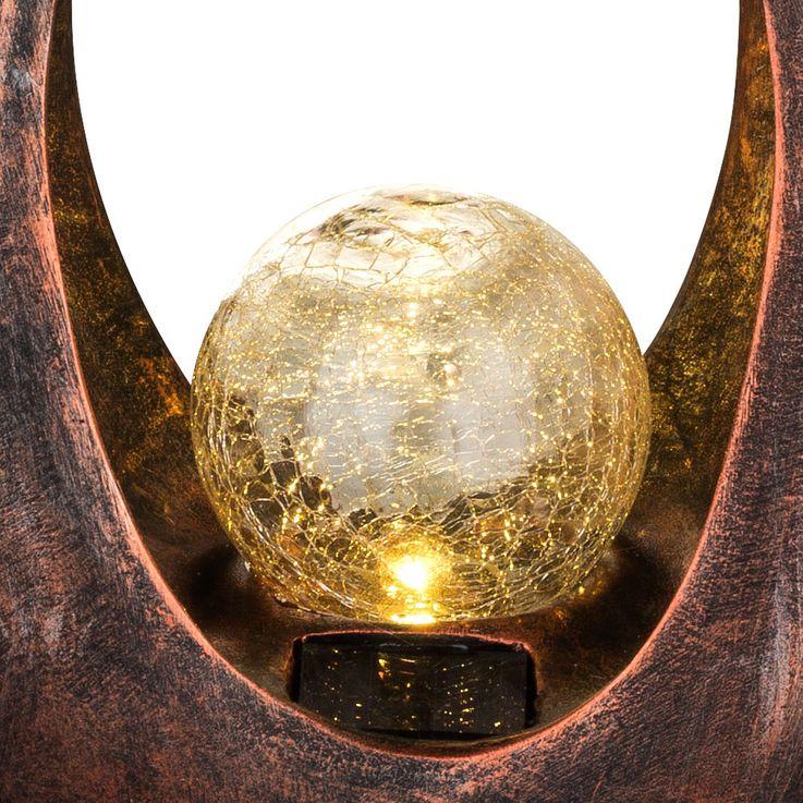 LED Außen Solar Lampe Balkon Steh Leuchte Glas Kugel Boden Bronze Strahler geschwungen Globo 33468 – Bild 9