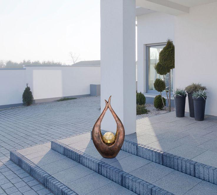 LED Außen Solar Lampe Balkon Steh Leuchte Glas Kugel Boden Bronze Strahler geschwungen Globo 33468 – Bild 4