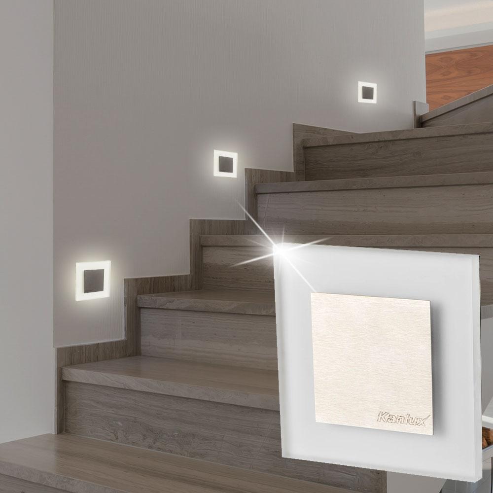 10x LED Decken Einbau Spots Treppen Stufen Flur Leuchten