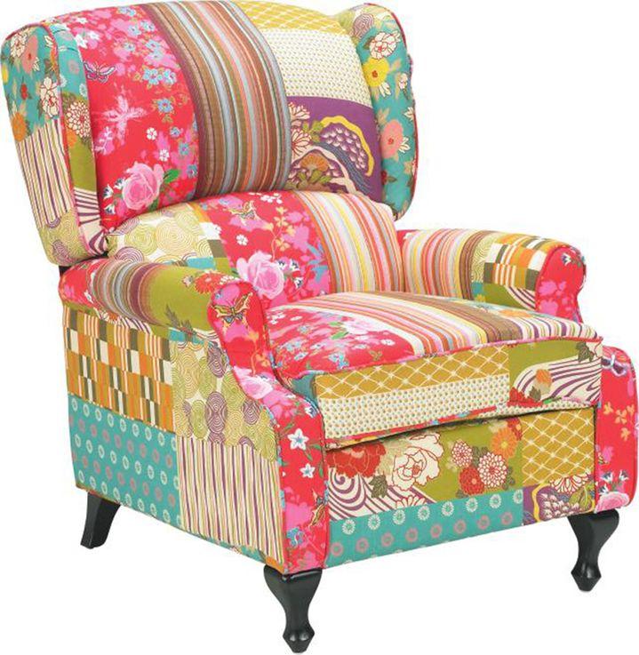mobilier textile Banc patchwork meubles tissu Banque chaise siège de chaise en bois multicolore  BHP B412252 – Bild 1