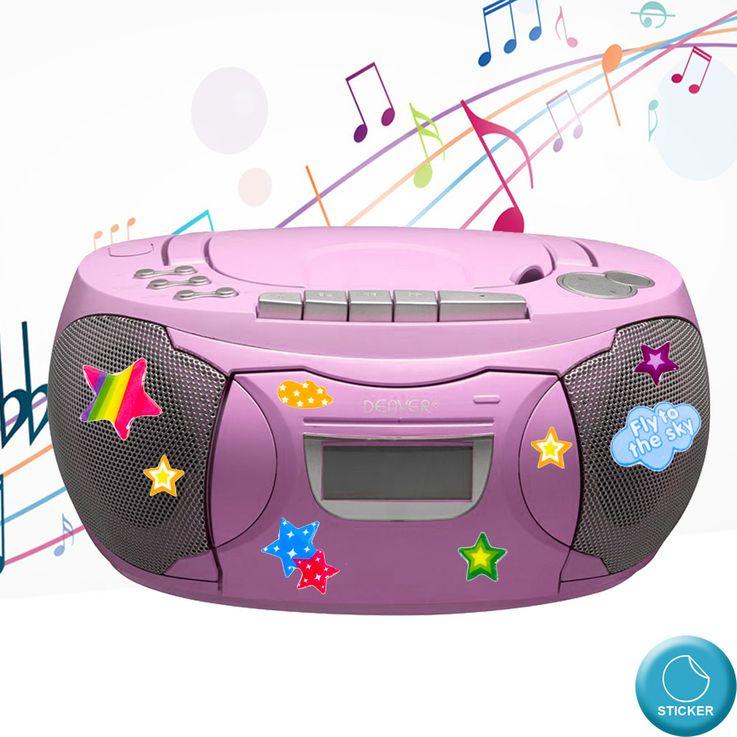 Stereo Radio CD Player Boxen Mädchen Spiel Zimmer Musik Anlage im Set inklusive Sternchen Sticker – Bild 2