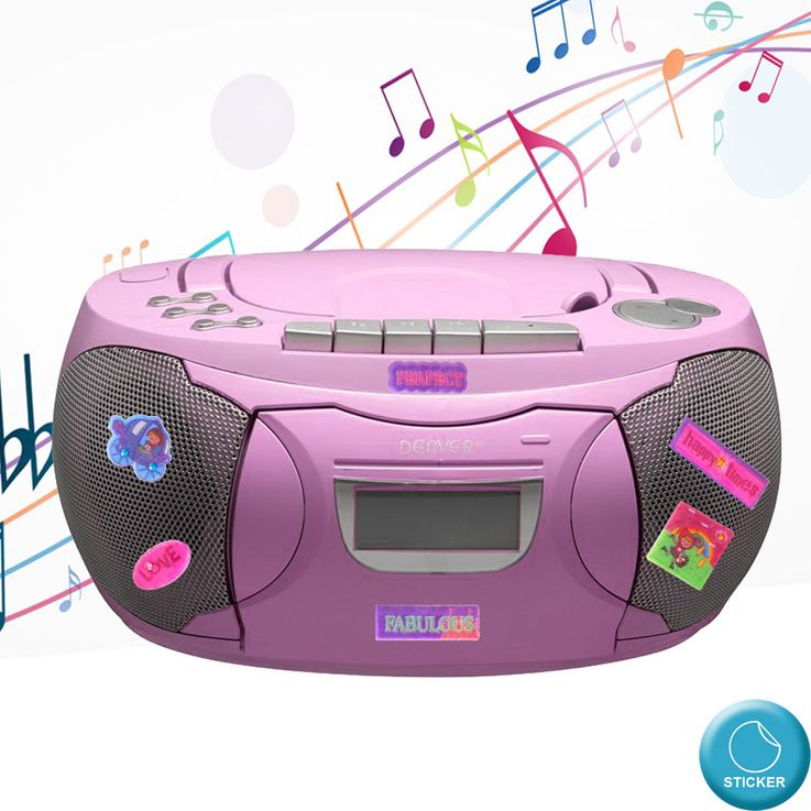 CD Player Stereo Radio Boxes Girls Kids Room Music Set Including Puffy Sticker – Bild 2