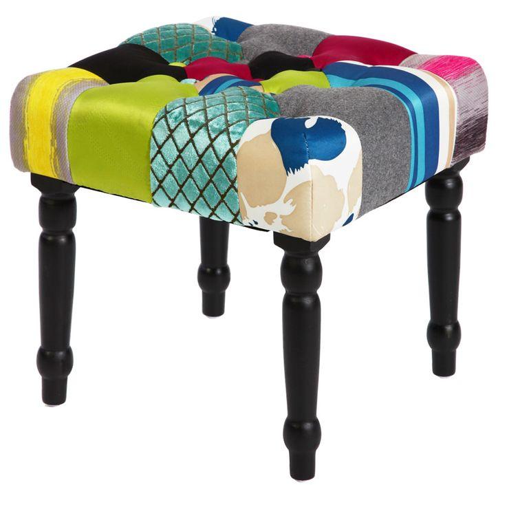 Patchwork seat bench textile furniture bench furniture fabric wood multicolour  BHP B412326 – Bild 1