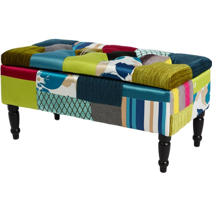 Patchwork seat bench storage space textile fabric upholstered storage multicolored  BHP B412359 – Bild 1