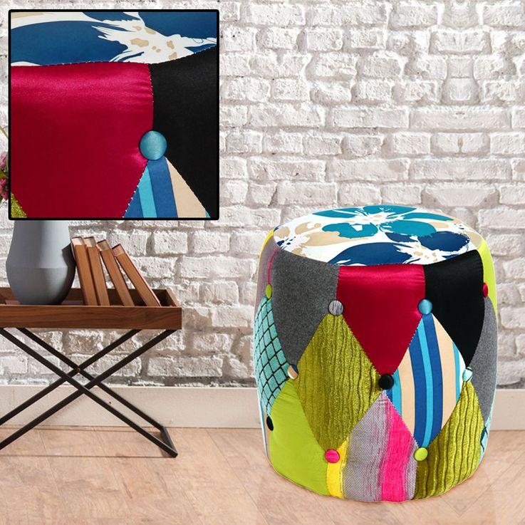 Textile Seat Stool Patchwork Design Chair Multicolored Living Kids Room Decoration  BHP B412325 – Bild 2