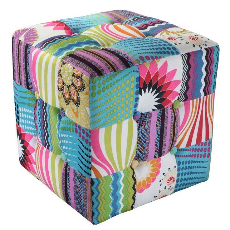 Hochwertiger Patchwork Sitz Würfel Textil Möbel Bank Mobiliar Stoff Couch Sessel BHP B412353 – Bild 1