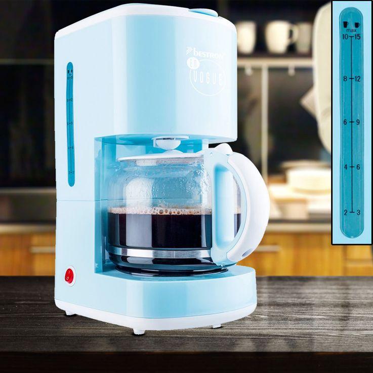 Coffee machine light blue measuring spoon glass jug 15 cups filter holding plate  Bestron ACM300EVB – Bild 2