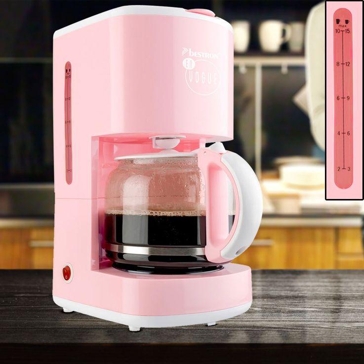 Kaffeemaschine in rosa mit Glaskanne und Warmhalteplatte – Bild 2