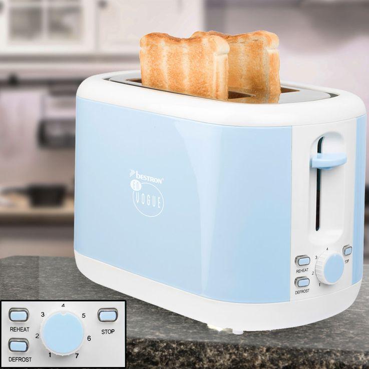 Toaster 2 Scheiben Brötchen Aufsatz hell blau Auftau Aufwärm Funktion 930W Toast Automat ATS300EVB – Bild 2