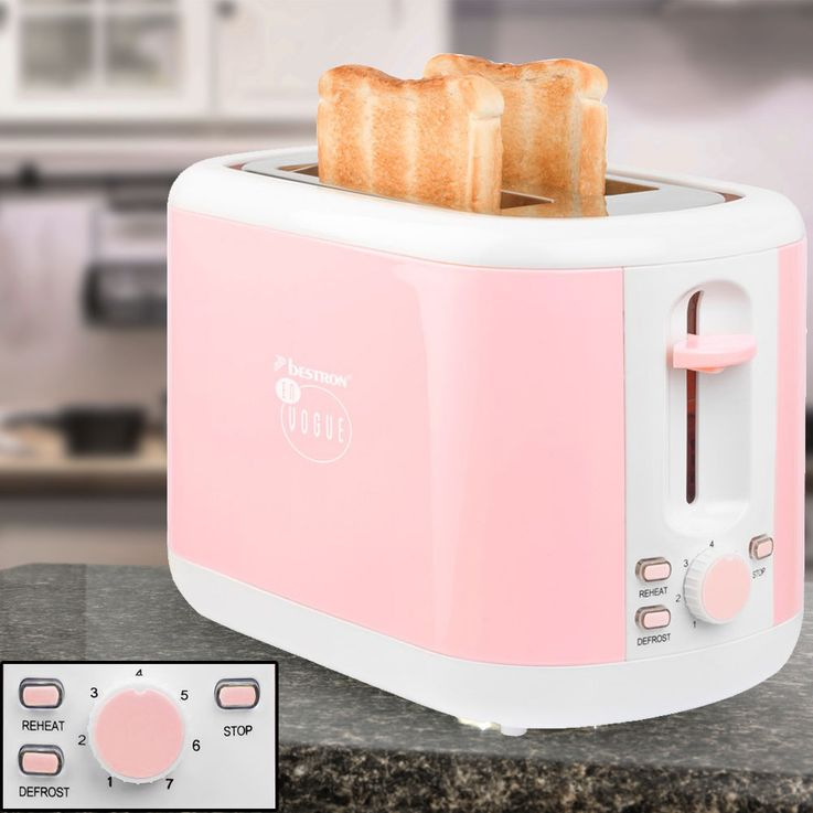 930W Toaster Pink Crumb Tray 2  Slices of Thawing Thawing Warm Up Bestron ATS300EVP – Bild 2