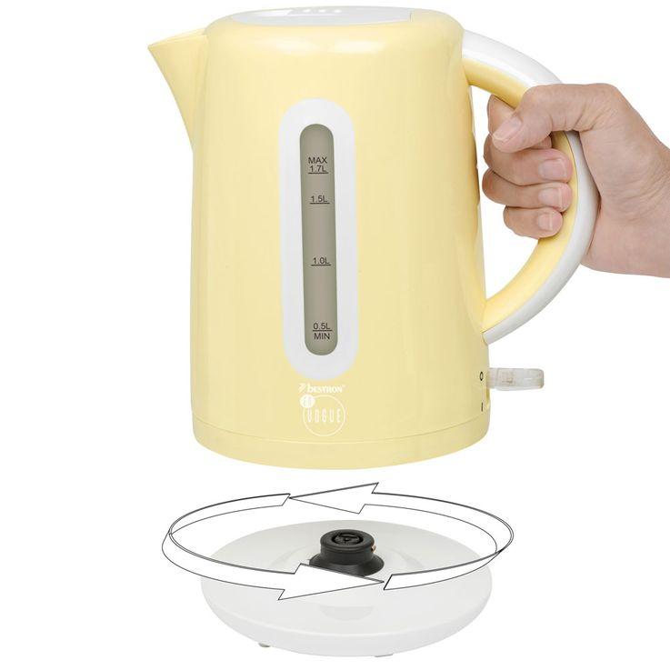 2200W Wasser Erhitzer Tee Kocher vanille kabellos Trockengehschutz 360° drehbar Bestron AWK300EVV – Bild 5