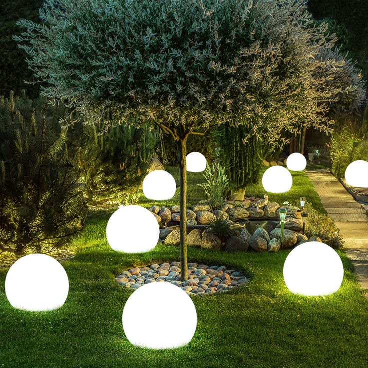 3x LED Solar Outdoor Plug Lamp Garden Ground Spike Ball Lawn Lights White  Globo 33770-3 – Bild 6