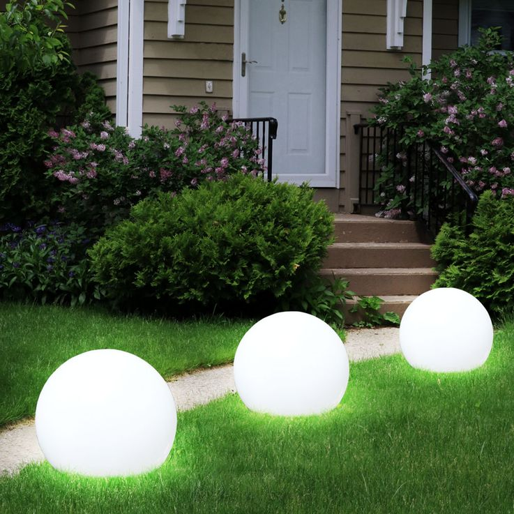 3x LED Solar Outdoor Plug Lamp Garden Ground Spike Ball Lawn Lights White  Globo 33770-3 – Bild 3