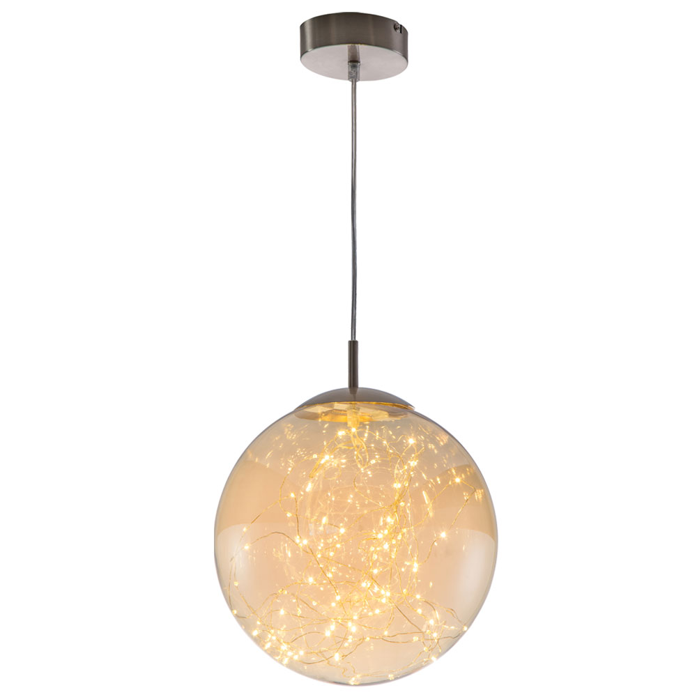 Design Led Pendellampe Mit Glaskugel In Amber Farben Lights Lampen
