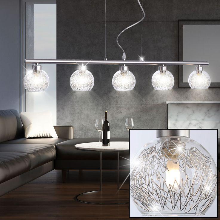 Suspension à DEL en verre avec lacis en aluminium – Bild 3