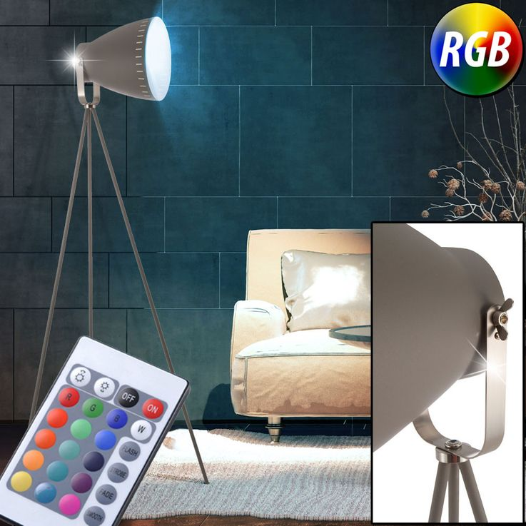 RGB LED floor lamp with adjustable spot in gray MAKKY – Bild 2