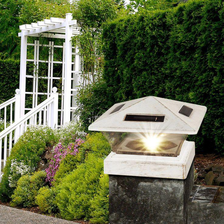 Lampadaire solaire sur pied LED blanc antique pour poteau de barrière de jardin allumant une lampe sur pied  Globo 33038 – Bild 3