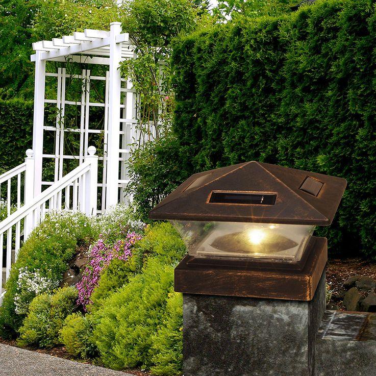 LED solar fence post light antique black garden stand lamp balcony terrace lighting  Globo 33039 – Bild 4