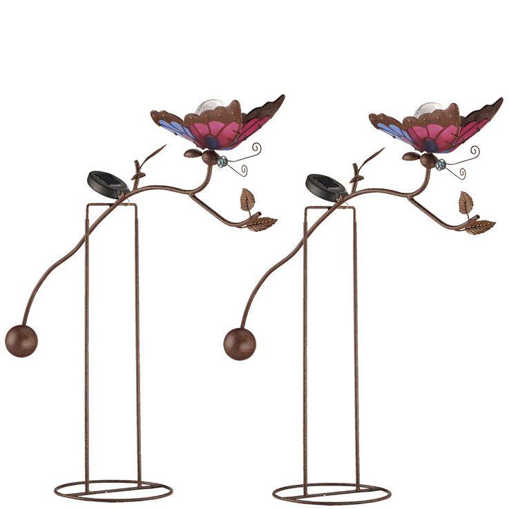 2er Set LED Solarlampen im Schmetterling Design, Höhe 70 cm – Bild 1