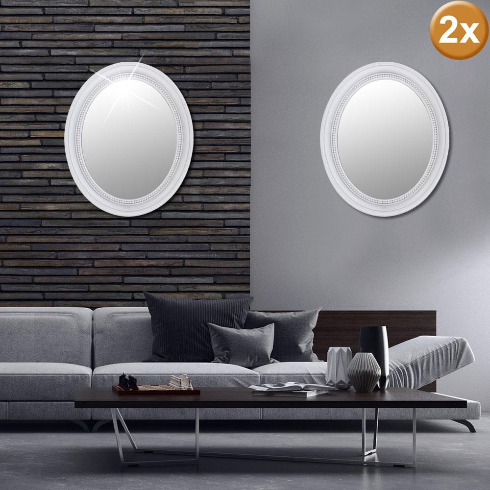 2er Set Bade Zimmer Schmink Wand Spiegel Oval Barock