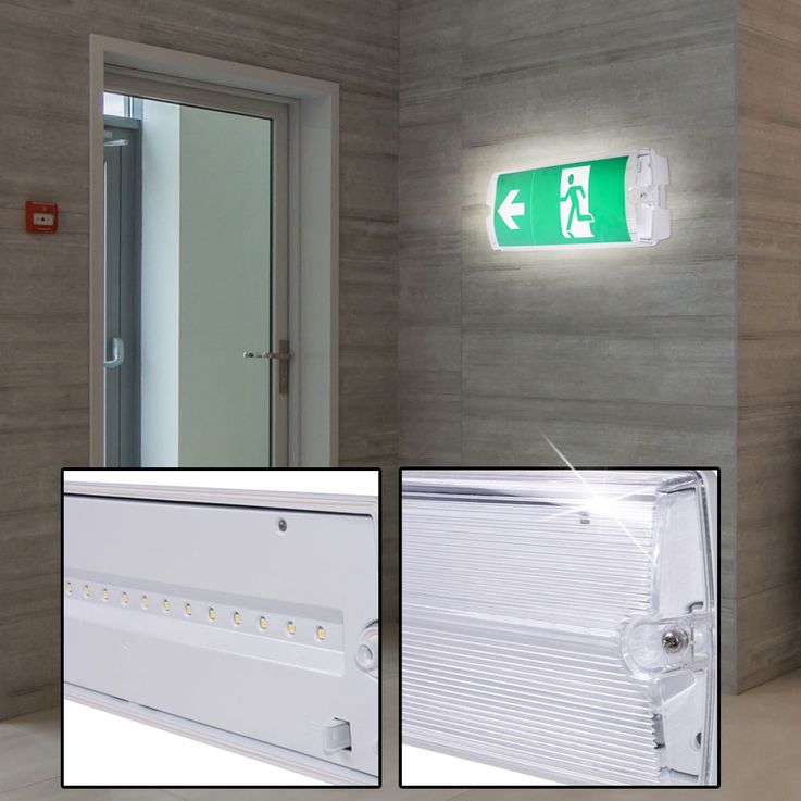 LED Wall Lamp Warehouse Halls Emergency Exit Lighting Escape Way Luminaire 3 hours Battery V  -TAC 8096 – Bild 2