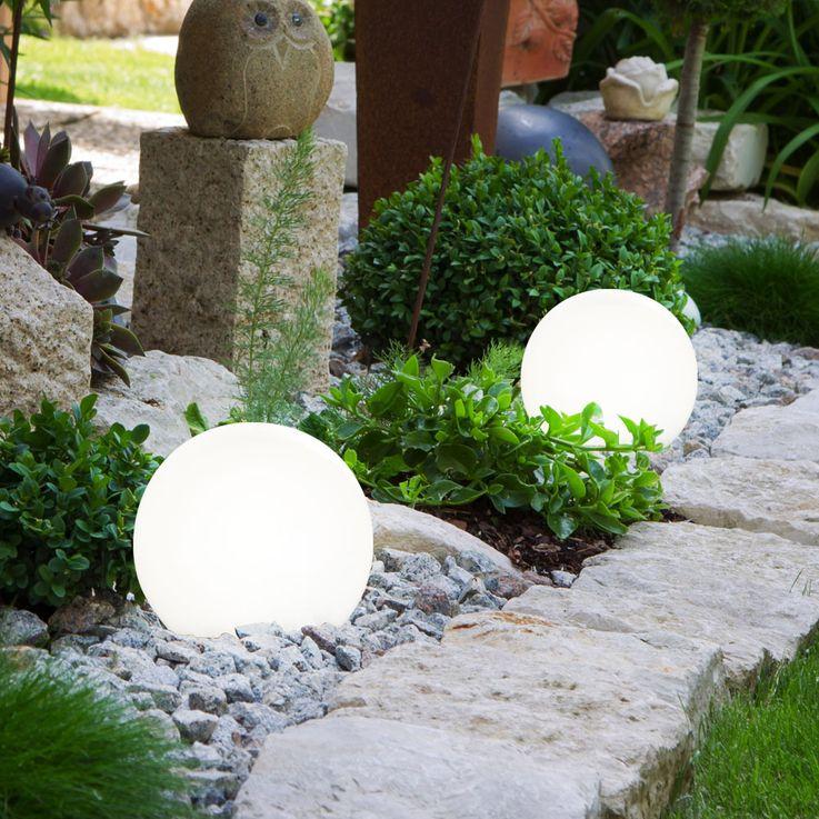 6er Set LED Solar Lampen Kugel Design Außen Leuchten Erd Spieß Garten Weg Beleuchtung weiß – Bild 3