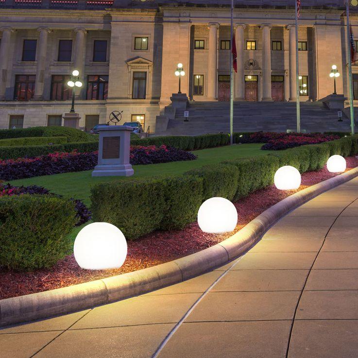 6er Set LED Solar Lampen Kugel Design Außen Leuchten Erd Spieß Garten Weg Beleuchtung weiß – Bild 4