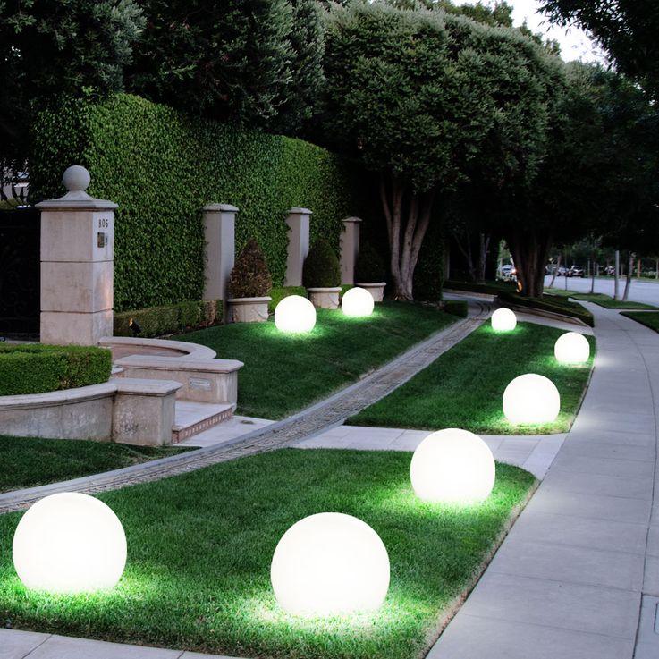 6er Set LED Solar Lampen Kugel Design Außen Leuchten Erd Spieß Garten Weg Beleuchtung weiß – Bild 5