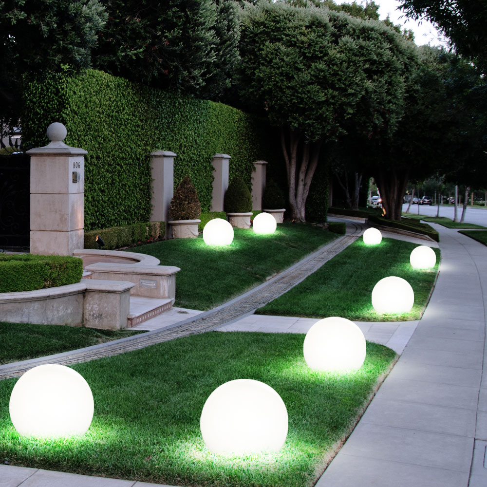 LED Solar mit 4 x LED Außen Garten Boden Wand Halbkugel Leuchtkugel Hof Weg weiß