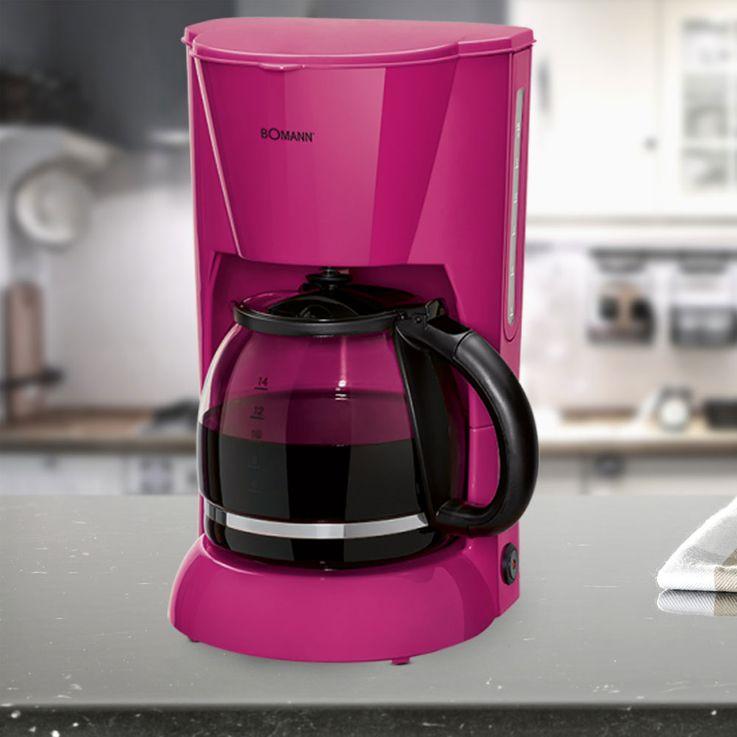 Kaffee Maschine Filter Brüh Automat brombeer 12-14 Tassen Glaskanne warmhalten Bomann KA 183 CB – Bild 2