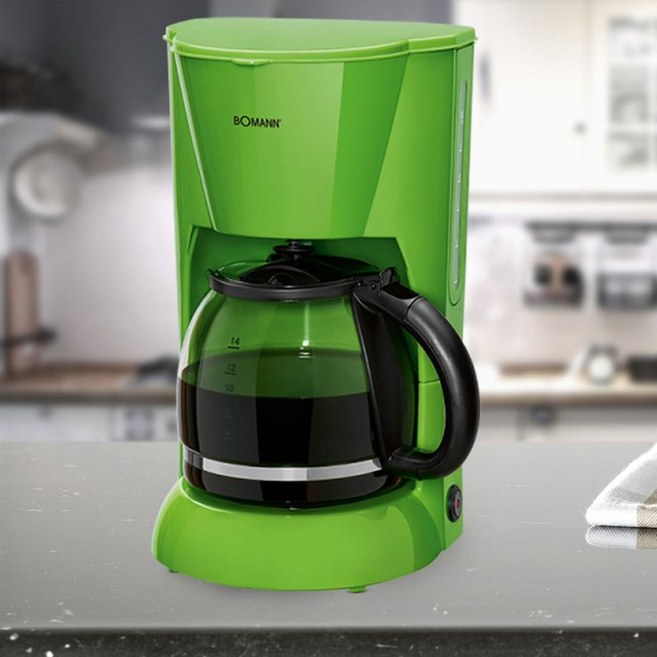Kaffee Maschine Filter Brüh Automat 12-14 Tassen Glaskanne Schalter grün Bomann KA 183 CB – Bild 2