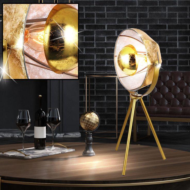 Retro Tisch Leuchte gold Wohn Zimmer Textil Steh Schein Werfer Spot Lampe schwenkbar Globo 58319T – Bild 2