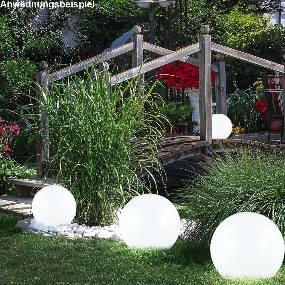 3er set led solar lampen steck au en leuchten garten beleuchtung kugel design ebay. Black Bedroom Furniture Sets. Home Design Ideas