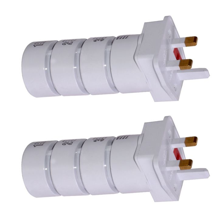 Set of 2 sockets adapter travel plug 4 pieces universal worldwide white – Bild 1