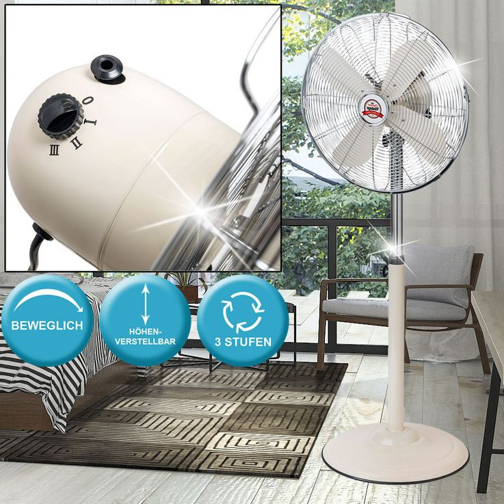 Retro Stand Fan 3 Stages Stand Cooler Living Room Fan height adjustable  Bestron AFS45RE – Bild 2