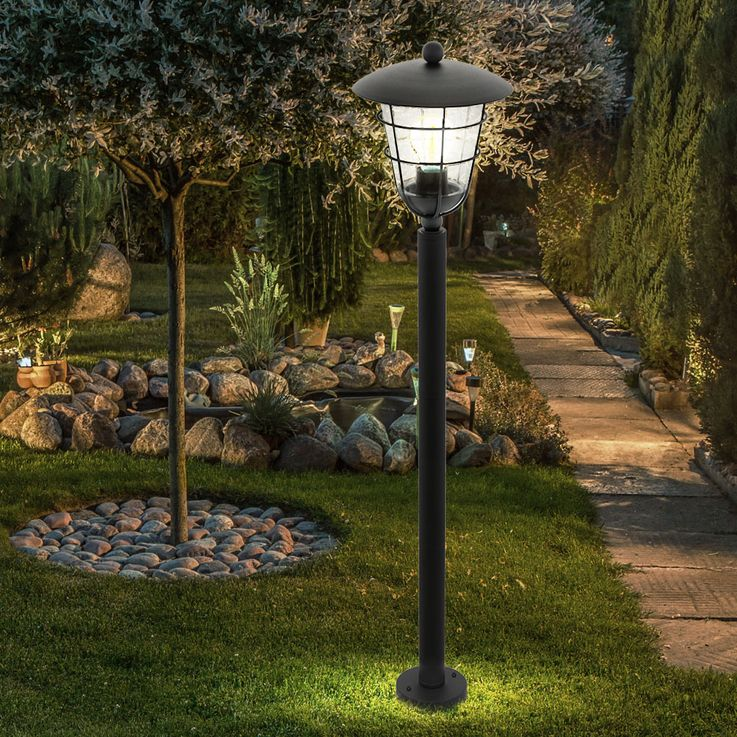 Outdoor Stand Lamp House Door Lighting Garden Path Cage Design Stand Lantern Black  Eglo94836 – Bild 3