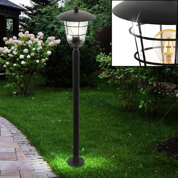 Outdoor Stand Lamp House Door Lighting Garden Path Cage Design Stand Lantern Black  Eglo94836 – Bild 2