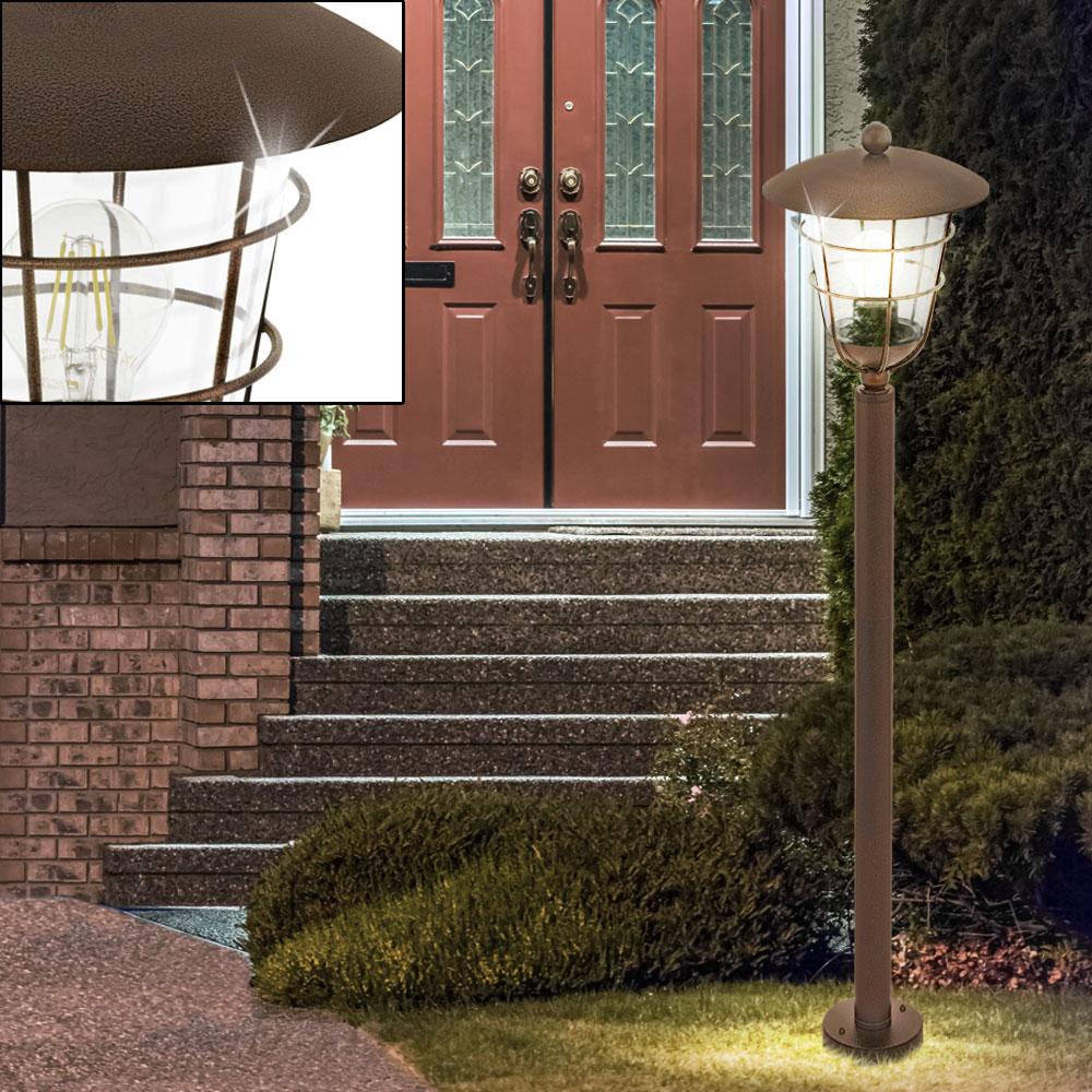 au en steh leuchte terrassen beleuchtung garten laterne k fig stand lampe braun ebay. Black Bedroom Furniture Sets. Home Design Ideas