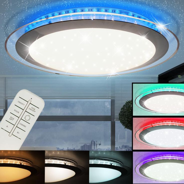 RGB LED Ceiling Lamp Sleep Room Luminaire Stars Effect Spotlight REMOTE CONTROL  Globo 48395 – Bild 2