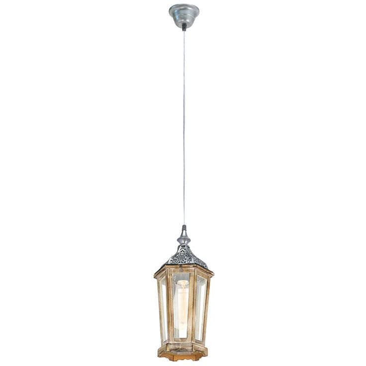 Ceiling lamp wood hanging lantern living room conservatory pendant lamp silver brown  Eglo 49206E – Bild 1