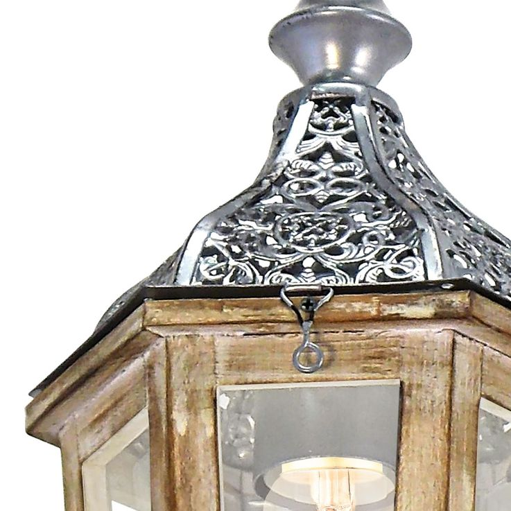 Ceiling lamp wood hanging lantern living room conservatory pendant lamp silver brown  Eglo 49206E – Bild 4