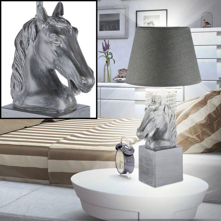 Pferde Kopf Design Tisch Leuchte Kunst Stein Nacht Licht Lese Lampe grau Fischer Leuchten 98163 – Bild 3